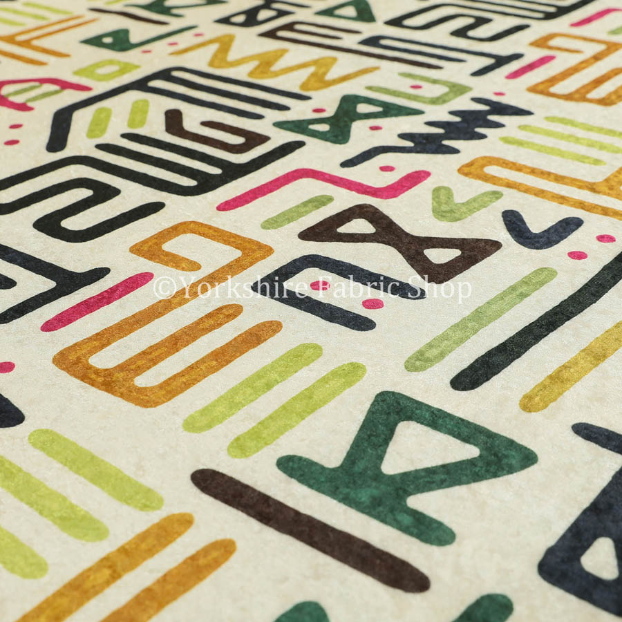 Glamour Art Collection Print Velvet Upholstery Fabric Multi Colour Tribal Script Geometric Pattern CTR-995